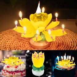 Candela rotante di compleanno a forma di loto con 8 candeline e canzone Happy Birthday
