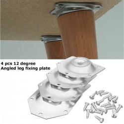 Piastra di fissaggio delle gambe del tavolo angolata - staffa di montaggio per le gambe dei mobili - set da 4 pezzi