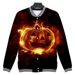 Long sleeve short jacket with Halloween pumpkin - windbreaker
