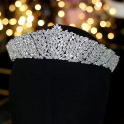 ASNORA Classic CZ Cubic Zirconia Bridal Wedding Headdress Crown Headband Womens Party Jewelry Acces