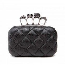 Luxury skull ring vintage plaid bag - clutch bag