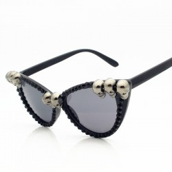 SWOKENCE Skull Frame Cat Eye Sunglasses Men Women Cool Black Rhinestone Sun Shades Halloween Party B