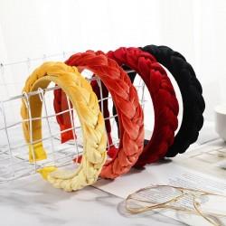 bezel headband - twist braid women's hair hoop - gold velvet cloth thickening hair accessories
