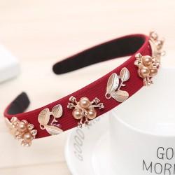 Haimeikang Women Hairband Crown Full Rhinestone Handmade Hair Bands Red Crystal Velvet Wide Hoop Hea