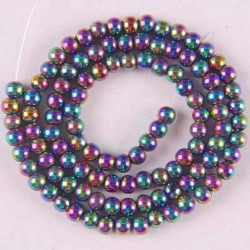 4mm motley magnetic hematite - round loose beads - 16 inch strand for jewellery making