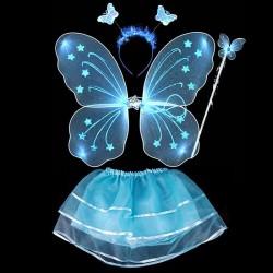 4Pcs Fairy Princess Kids Costume Sets Butterfly Wings Wand Headband Tutu Skirt 2019