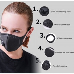 Military grade - anti-dust and anti-pollution mouth mask - air valve - washable