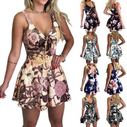 Womens Summer Print Jumpsuit Shorts Casual Loose Short Sleeve V-neck Beach Rompers Sleeveless Bodyc