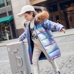 Free shipping Fashion Brand Girl Down Jacket Warm Child Down Parkas Coat Fur Kid Teenager Thickening