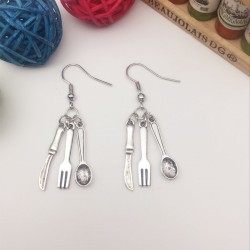 Quirky earring knife fork spoon school dinners cafe restaurant worker