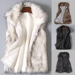 faux fur coat - women waist coat - women's jacket fur vest - ladies wool vest stand collar faux coat