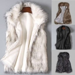 faux fur coat - women waist coat - women's jacket fur vest - ladies wool vest stand collar faux coat