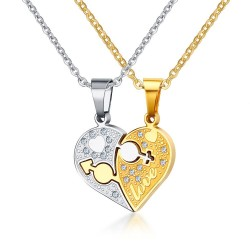 Vnox Rhinestone Charm Pendant Necklace Love Heart Shaped 20 O Link Chain Necklace Gift Jewelry Acce