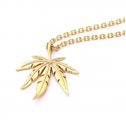 gold silver plated cannabiss small weed herb charm necklace - maple leaf pendant necklace - hip hop jewelry