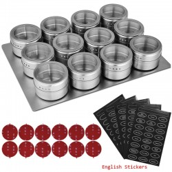 LMETJMA Magnetic Spice Jars With Wall Mounted Rack Stainless Steel Spice Tins Spice Seasoning Contai