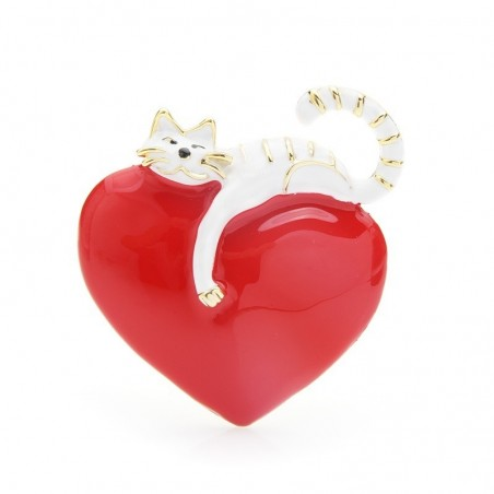 Heart with lazy cat - enamel brooch
