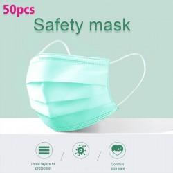 Maschere viso / bocca monouso - 3 strati - anti-polvere - anti batteriche - premium verde