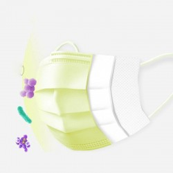 Maschere monouso viso / bocca - 3 strati - anti-polvere - anti batteriche - giallo premium