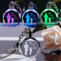 """Dad you are my hero"" - crystal keychain - Led"