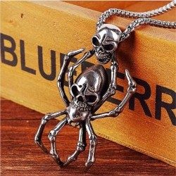 Vintage silver spider & skull pendant - stainless steel necklace