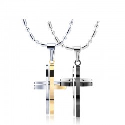 Fashionable black -silver - gold double cross - stainless steel necklace - unisex
