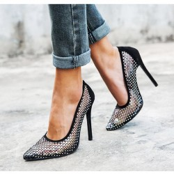 Crystals - mesh - high heels pumps - black