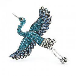 Flying Crane - elegant crystal brooch