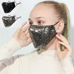 Maschera viso / bocca in cotone alla moda con paillettes - antinquinamento - traspirante - protezione