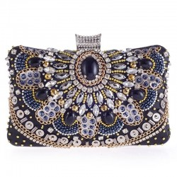 Diamond crystal purse - with chain - ladies - evening bags