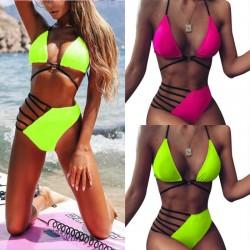 Hot bikini set - bathing suit - pink - neon green