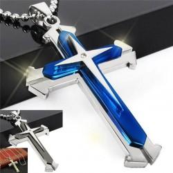 Cross pendant chain - 3D - 3 colours - metal chain