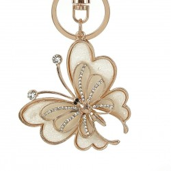 Fashion Rhinestone Butterfly Key Chains Rings Holder Crystal For Women Jewelry Bag Pendant For Car K