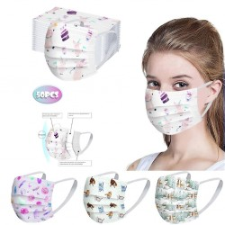 50 pezzi - maschera medicale monouso antibatterica - maschera per la bocca - 3 strati - unisex