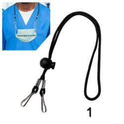 Adjustable face mask cord with lanyard