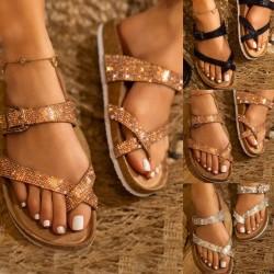 Flip-Flop - Buckle - Open Toe - Rhinestones - Slippers - Women
