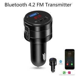 Handsfree - Bluetooth - 4.2 FM - Transmitter - Car Charger - Dual USB Adapter - MP3 Player