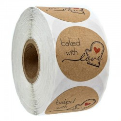 BAKED WITH LOVE - round natural kraft stickers - 100 - 500 pieces