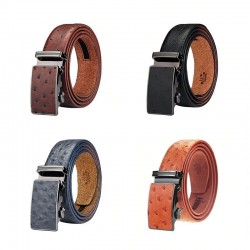 Genuine leather luxury belt with automatic buckle