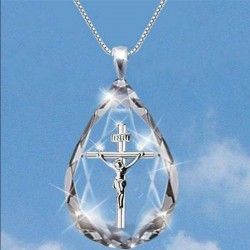 Crystal diamond pendant - silver necklace - cross - dolphin - tree