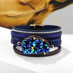 Big stone crystal - wrap bracelets - leather