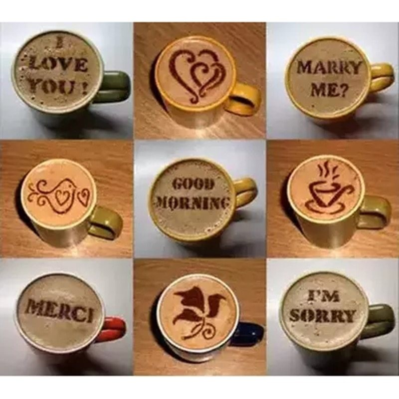 16Pcs - coffee - plastic stencil - decoration