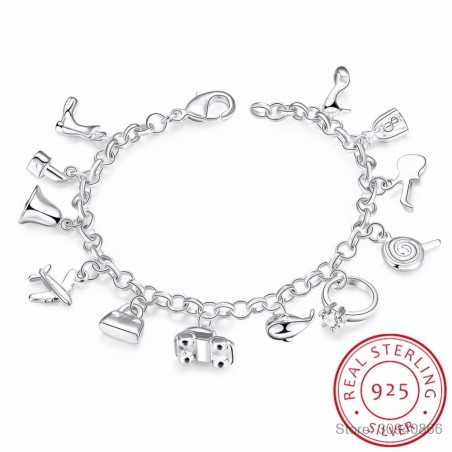 Pretty bracelet - 925 sterling silver - mixed crystals