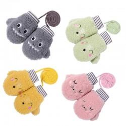 Kids warm plush gloves - one finger - with rope - animals design