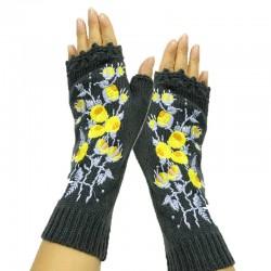 Handmade knitted gloves - long - half finger - embroidery flowers