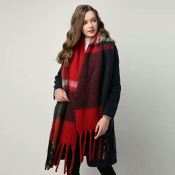 Cashmere plaid scarf with tassels