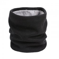 Knitted warm round scarf with plush - unisex