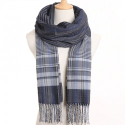 Luxury men's plaid scarf with tassels