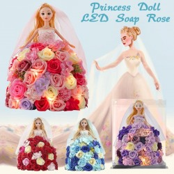 Princess doll made of infinity roses with LED light
