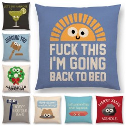 Cartoon design - funny words - cushion cover - 45 * 45 cm