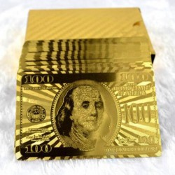 24K gold plated - 100 bank note - playing cards